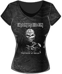 Iron Maiden Book of Souls Acid Wash Ladies T-Shirt (Small) - Cover