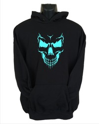 Scary Skull Face Mens Hoodie Black (Small) - Cover