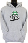 1up Mens Hoodie Grey (Large)