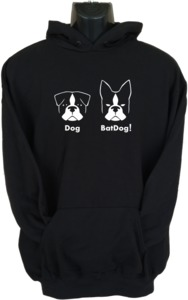 Batdog Womens Hoodie Black (Large) - Cover
