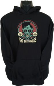 Feed the Zombies Womens Hoodie Black (XX-Large) - Cover