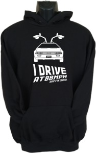 I Drive At 88mph Womens Hoodie Black (X-Large) - Cover