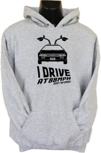 I Drive At 88mph Womens Hoodie Grey (X-Large) - Cover