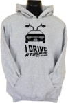 I Drive At 88mph Womens Hoodie Grey (X-Large)