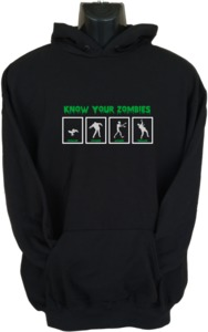 Know Your Zombies Womens Hoodie Black (X-Large) - Cover