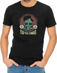 Feed the Zombies Mens T-Shirt Black (Medium) - Cover