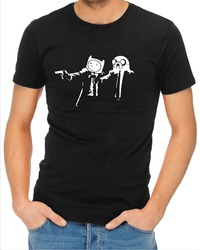 Pulp Fiction Adventure Time Mens T-Shirt Black (Small) - Cover