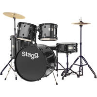 Stagg TIM112B BK 5pc Rock Size Drum Kit Including Hardware and Cymbals (Black)