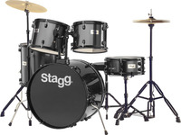 Stagg TIM112B BK 5pc Rock Size Drum Kit Including Hardware and Cymbals (Black) - Cover