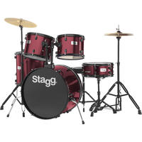 Stagg TIM122B WR 5pc Rock Size Drum Kit Including Hardware and Cymbals (Red)