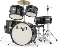 Stagg TIMJR516 BK 5 Piece Junior Drum Kit Including Hardware and Cymbals (Black) - Cover