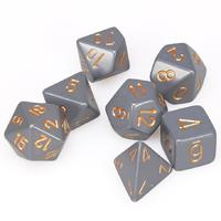Chessex - Set of 7 Polyhedral Dice - Opaque Dark Grey & Copper