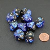 Chessex - Set of 10 D10 Dice - Gemini Black-Blue & Gold