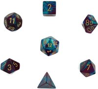 Chessex - Set of 7 Polyhedral Dice - Gemini Purple-Teal with Gold - Cover