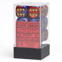 Chessex - 16mm D6 12 Dice Set - Blue-Red with Gold - Cover