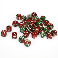 Chessex - 12mm D6 36 Dice Block - Gemini Green-Red with White - Cover