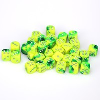 Chessex - 12mm D6 36 Dice Block - Gemini Green-Yellow with Silver - Cover