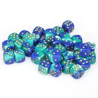 Chessex - 12mm D6 36 Dice Block - Gemini Blue-Teal with Gold - Cover