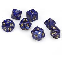 Chessex - Set of 7 Polyhedral Dice - Scarab Royal Blue & Gold