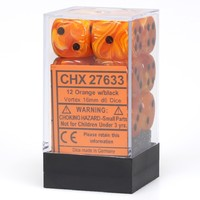 Chessex - 16mm D6 12 Dice Set - Vortex Orange with Black - Cover