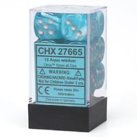 Chessex - 16mm D6 12 Dice Set - Aqua with Silver - Cover