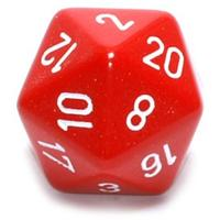 Chessex - Single 34mm D20 Dice - Red & White