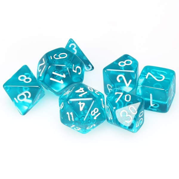 chessex set of 10 polyhedral d10 dice translucent teal with
