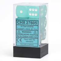 Chessex - 16mm D6 12 Dice Set - Frosted Teal with White - Cover
