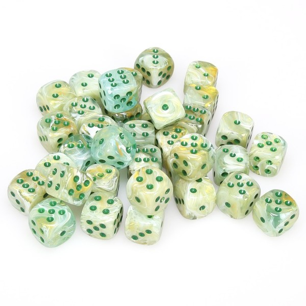 Chessex 12mm D6 36 Dice Block Marble Green With Dark Green Raru