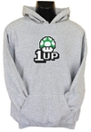 1up Mushroom Womens Hoodie Grey (XX-Large)