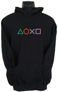 PS4 Buttons Mens Hoodie Black (Medium) - Cover