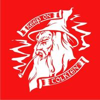 Keep On Tolkien Mens T-Shirt Red (Large)