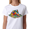 Melting Rubik's Cube Womens T-Shirt White (Small)