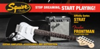 Squier Affinity Stratocaster Electric Guitar Pack with Fender Frontman 10G Amp (Black)