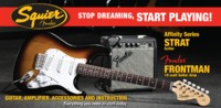 Squier Affinity Stratocaster Electric Guitar Pack with Fender Frontman 10G Amp (Brown Sunburst)