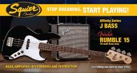 Squier Stop Dreaming, Start Playing Affinity Series Jazz Bass With Rumble 15 Amp (Black)