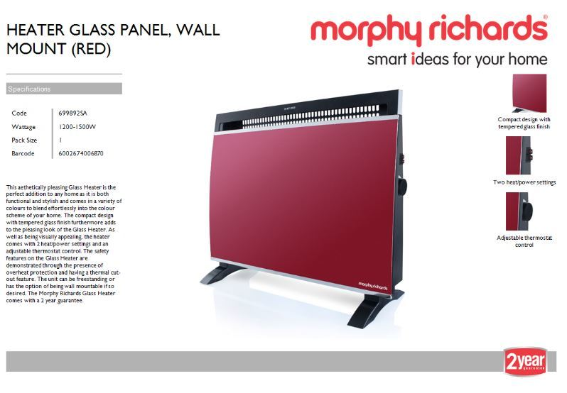 Morphy Richards Heater Glass Panel Wall Mount Red