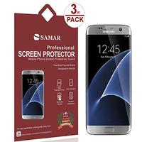 SAMAR® - Premium Quality { FULL SIZE } Crystal Clear Screen Protectors for New Samsung Galaxy S7 Edge [ Release February 2016 ] (3 in Pack) Ultra Thin High Definition HD Clear Screen Protector - Includes Microfiber Cleaning Cloth (Electronics)