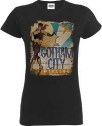 DC Comics - Batgirl Gotham City Airlines Ladies Charcoal T-Shirt (Small) - Cover