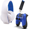Sony PS4 Dualshock 4 Controller (Blue) + DS4 USB Wireless Adaptor for Windows PC/Mac + Wireless Stereo Headset 2.0 - White