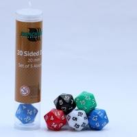 Blackfire Dice - 20mm Assorted D20 Dice (5 Dice) - Cover