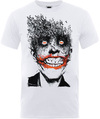Batman Joker Face of Bats Mens White T-Shirt (Large)