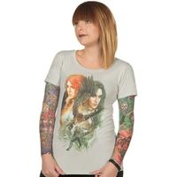 The Witcher 3 Yenni and Triss Womens T-Shirt Silver (XX-Large)