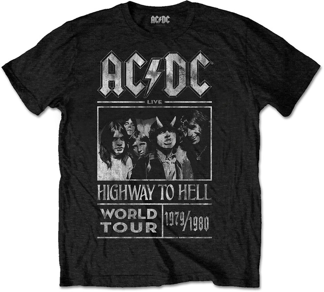 AC/DC - Highway to Hell World Tour 1979/80 Mens Black T-Shirt (Large)