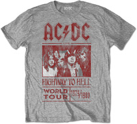 AC/DC -  Highway to Hell World Tour 1979/80 Mens Grey T-Shirt (Small) - Cover