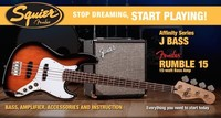 Squier Stop Dreaming, Start Playing Affinity Series Jazz Bass With Rumble 15 Amp (Sunburst)