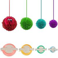 4 Sizes Pompom Pom-pom Maker for Fluff Ball Weaver Needle Craft DIY Wool Knitting Craft Tool Set Decoration By Knewmart (Office Product)