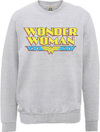 Wonder Woman Logo Crackle Mens Grey Marl Sweatshirt (XX-Large)