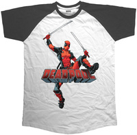 Deadpool Logo Jump Raglan Black T-Shirt (Medium) - Cover