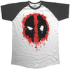 Deadpool Splat Icon Raglan Black T-Shirt (Medium)